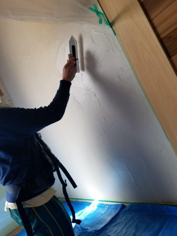 お客様による塗り壁体験3